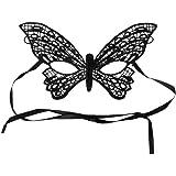 Máscara de Encaje de Negra para Mujeres en Misteriosa Mascarada para la Fiesta de la Mascarada, Bodas, Máscara Anónima del Carnaval Veneciano y Danza, Las Mascaras Venecianas del Estilo Mariposa
