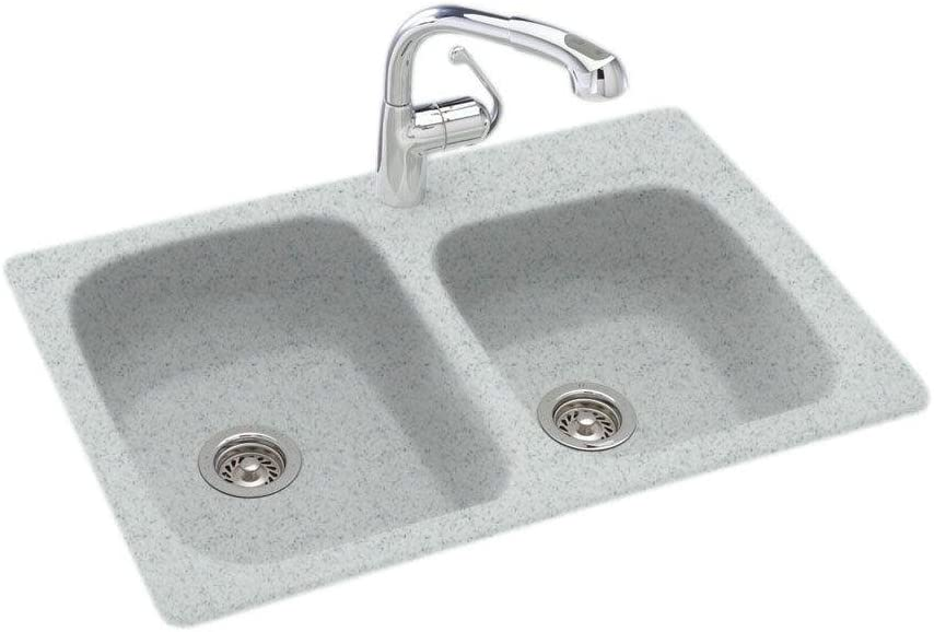 Swanstone KS03322DB.053 Solid Surface 1-Hole Dual Mount Double-Bowl Kitchen Sink, 33-in L X 22-in H X 9-in H, Tahiti Gray