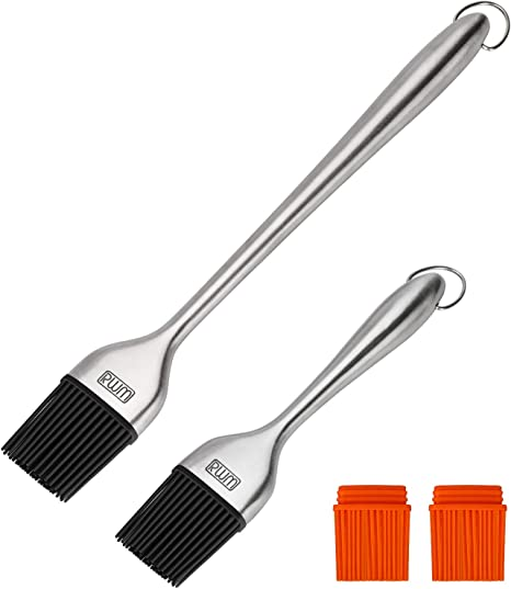 Rust-Proof Stain Resistant 5Pack 12 Stainless Steel Brush with Lengthened Silicone Brush Head for Pastry Kitchen Cooking Baking Grill BBQ Paint Basting Brush