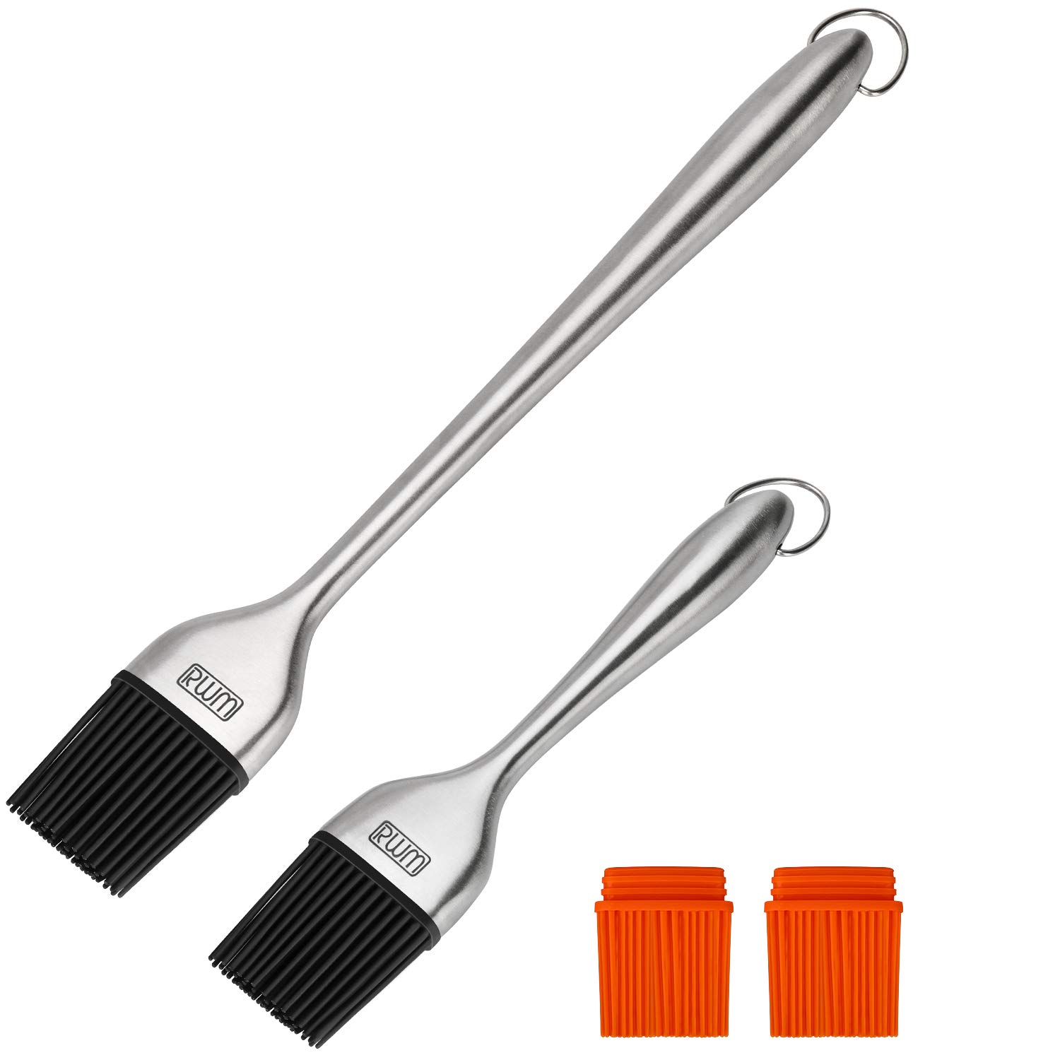 RWM Basting Brush - Grilling BBQ Baking, Pastry, and Oil Stainless Steel Brush with Back up Silicone Brush Heads(Orange) for Kitchen Cooking & Marinating, Dishwasher Safe by RWM