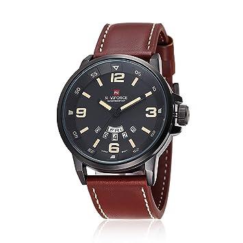 Naviforce Reloj de pulsera de cuarzo con correa de piel para hombre aacute tico con fecha calendario: Amazon.es: Electrónica