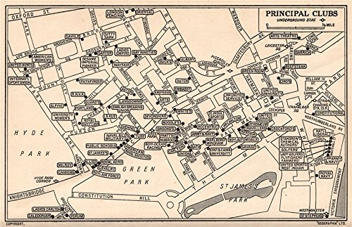 LONDON GENTLEMENS' & LADIES CLUBS. St James's Mayfair Whitehall - 1953 - old map - antique map - vintage map - London map s