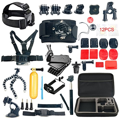 YaeCCC 42-in-1 Gopro Accessory Kit for GoPro Hero5 Black, Hero5 Session, Hero 4 Silver Black, Hero Session, Accessory Bundle Set for GoPro Hero3+ 3 2 1, SJ Cam Xiaoyi by YaeCCC