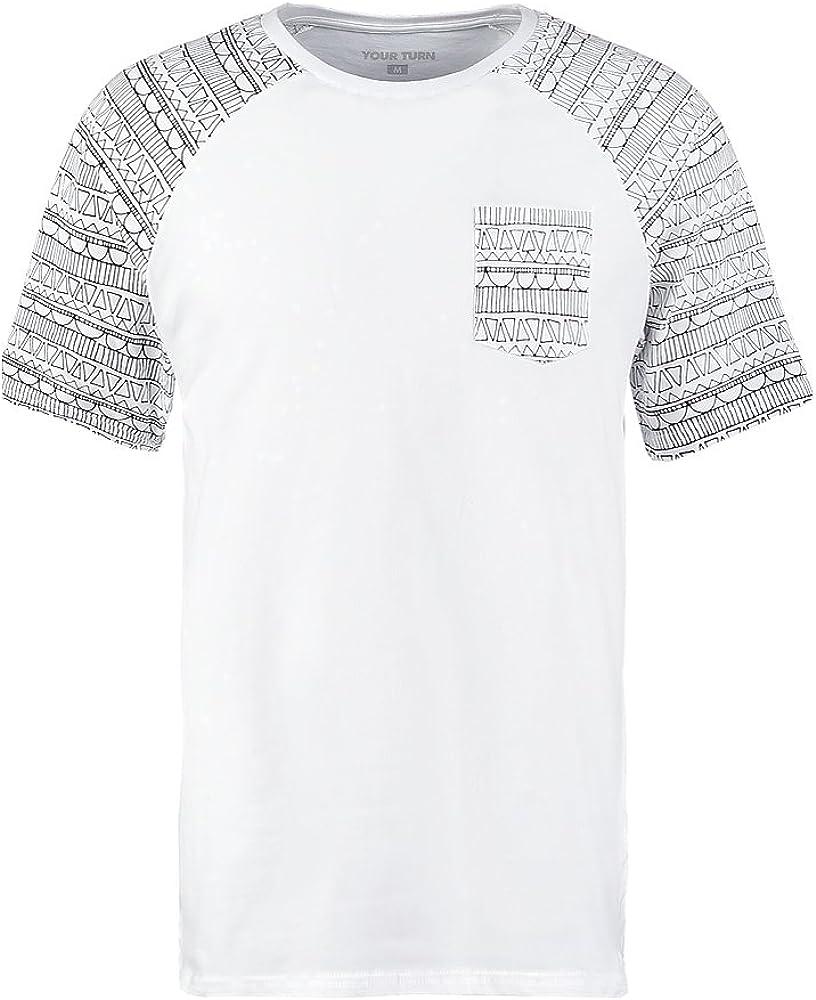 YOURTURN T-Shirt Camiseta de Hombre en Blanco y Negro - Talla L ...