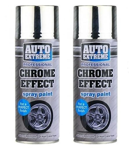 2 botes de spray de pintura profesional de 400ml de efecto cromo con acabado