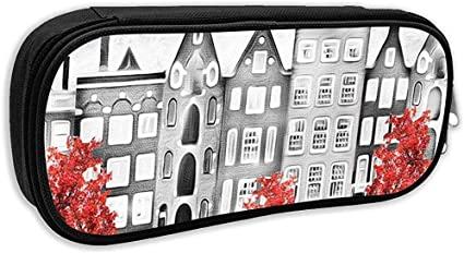 Estuche escolar, pintura al óleo sobre lienzo Street of Amsterdam Modern House Pen Bag Office Stationery Bag: Amazon.es: Oficina y papelería