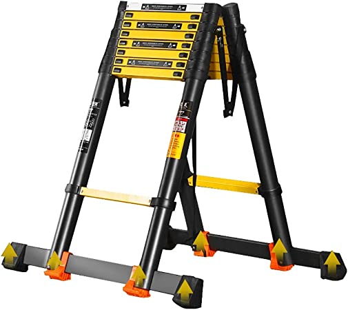 Escalera Telescópica- Escalera Retráctil Negra para Negocios De Techos: Escalera Telescópica Plegable De Aluminio con Barra Estabilizadora, Capacidad De 330 LB (Size : 3.9m/12.8ft): Amazon.es: Hogar