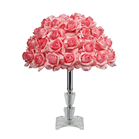 Table Lamps With Crystal Glass Holder And Pink Rose Shade Create A  Welcoming Romantic Ambiance In