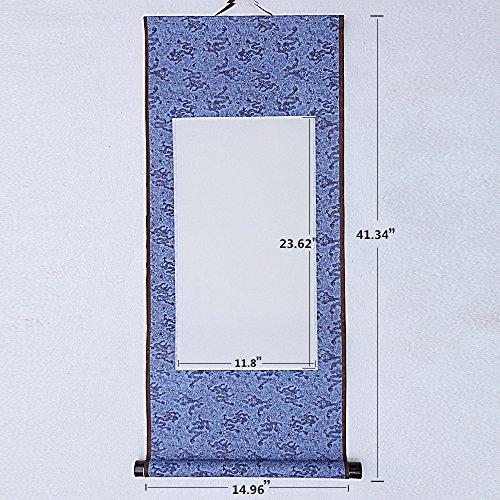 JZ014 Hmayart kakejiku Blank Mounting Hanging Wall Scroll Set for Kanji, Sumi and Chinese Calligraphy (6pcs/Set) (Scroll Size: 14.96'' x 41.34'' (38 x 105 cm)) by Hmayart (Image #1)