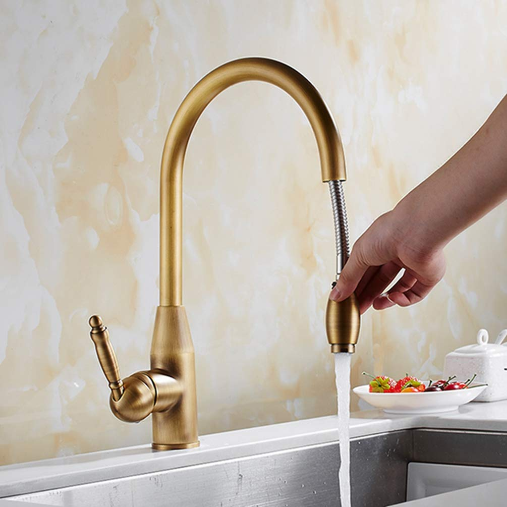 Antique Brass FZHLR Kitchen Faucet Antique Brass gold Kitchen Sink Tap Pull Out Kitchen Faucet,Sink Tap Mixer with Pull Out Shower Head Swivel,gold