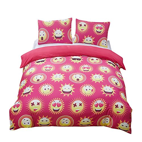 3 Piece Pink Emoji Duvet Cover Sets  - Twin