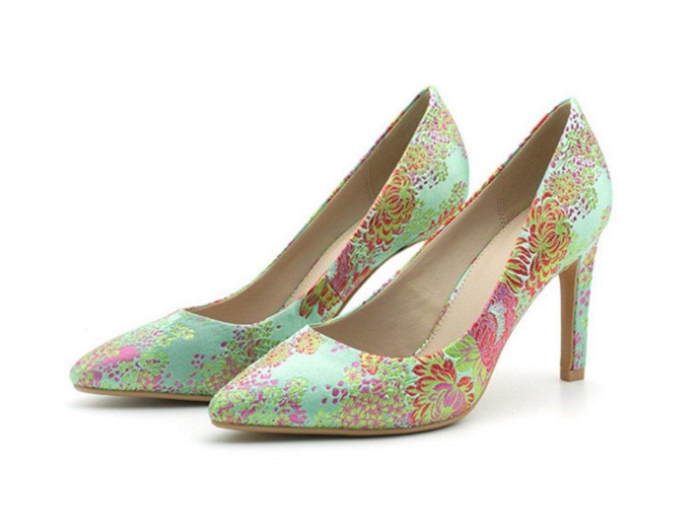 NVXIE Bestickte Damenschuhe Fashion Tipps Stiletto Schuhe High Heels Sommer Stil Cheongsam Einzelne Schuhe 35-39
