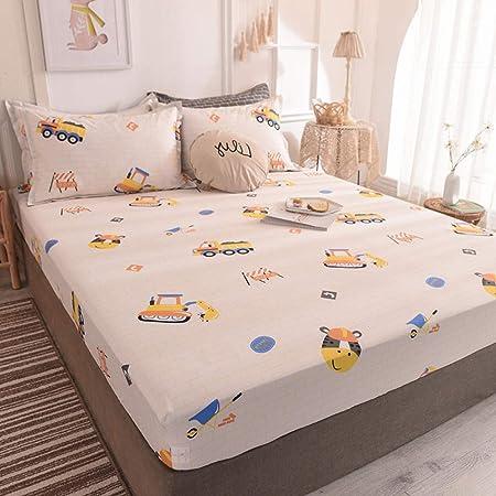 FFLDM Sábana Bajera,Sábanas Ajustables para niños con Estampado de algodón 100%, Protector de colchón Super King para Apartamentos de niños y niñas-D_100x200 + 28cm: Amazon.es: Hogar