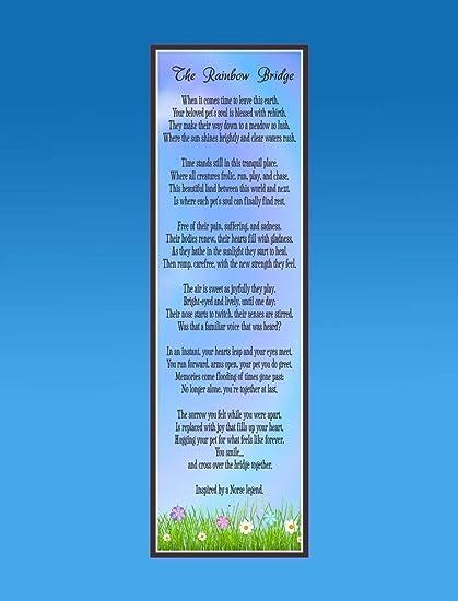 Evan332eddie Gedenktafel Für Haustiere Motiv Regenbogenbrücke Holz Mit Gedicht Und Blumenwiese In Erinnerung Amazon De Garten