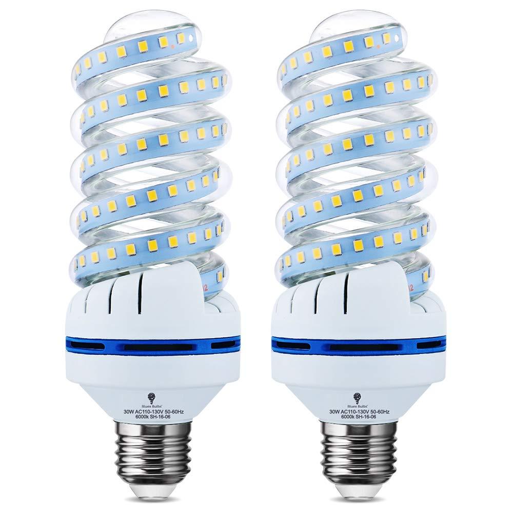 Garage Park Patio Security Bulb Restaurant CFL Replacement for Warehouse E26 Base Corn Light Bulbs 30 Watt 6000K 3300 Lumens Daylight Barn 2 Pack BlueX 250 Watt Equivalent Spiral LED Bulb