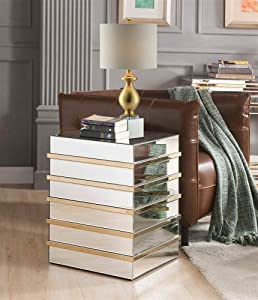 ACME Furniture End Table, Mirrored and Gold