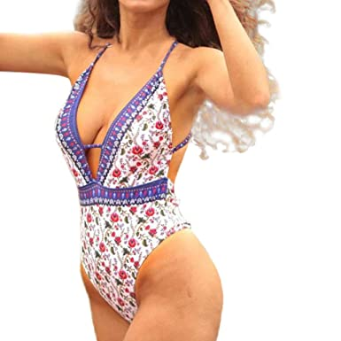 b70f1cc9a8 Women Bikini Sets One Piece Sexy Backless Monikini Print Swimsuit Push Up  Beach Bathing Suit at Amazon Women's Clothing store: