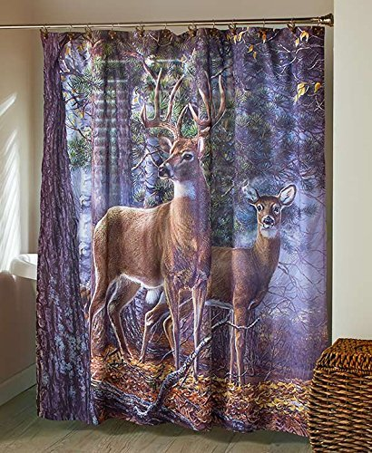 The Lakeside Collection Cold Snap Deer Bathroom Shower Curtain