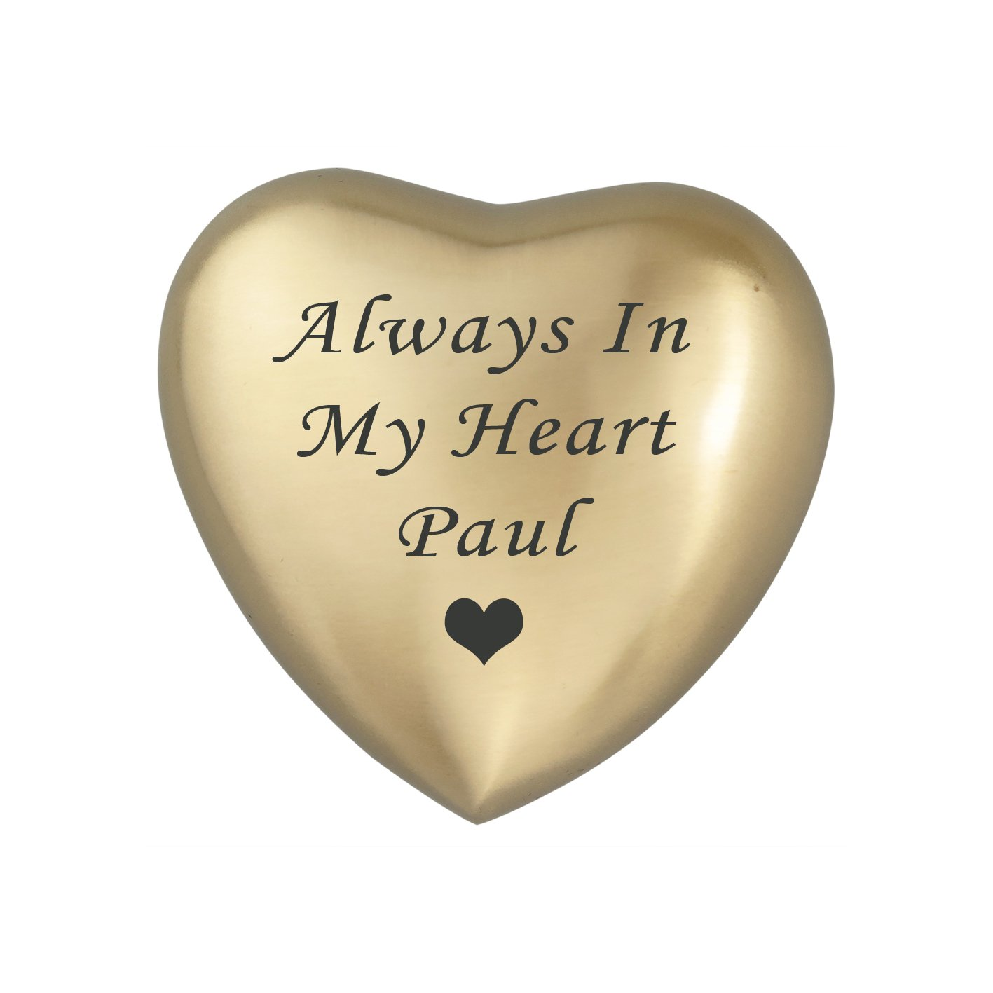 Always In My Heart Personalised Golden Heart Ashes Urn Keepsake Cremation Love to Treasure
