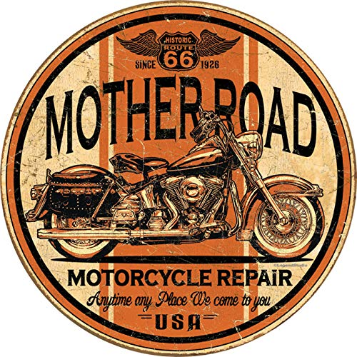 Desperate Enterprises Route 66 Mother Road Motorcycle Repair Tin Sign, 11.75