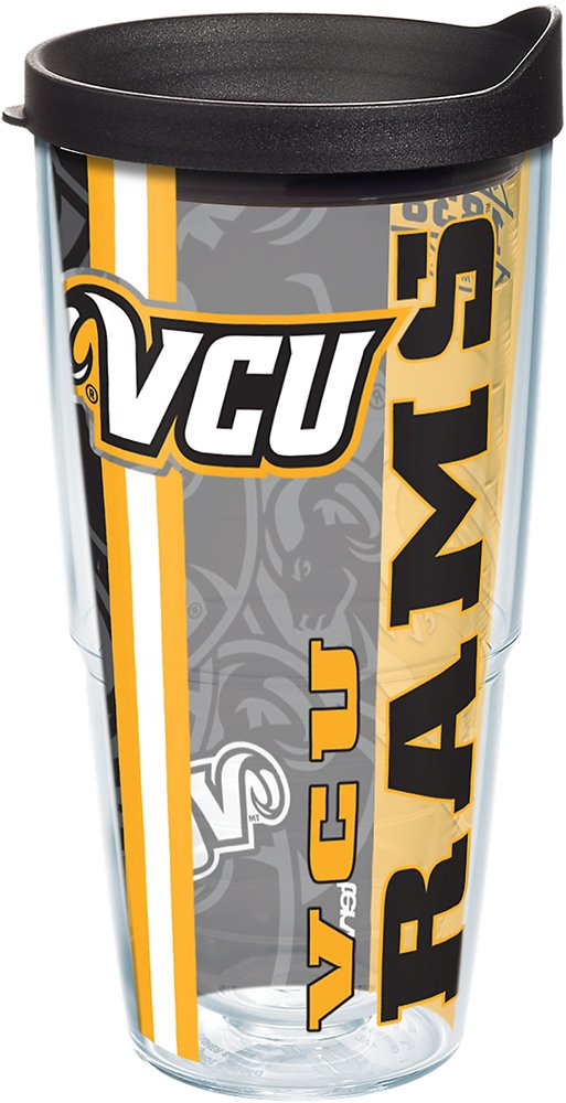 Tervis 1229763 VCU Rams College Pride Tumbler with Wrap and Black Lid 24oz, Clear
