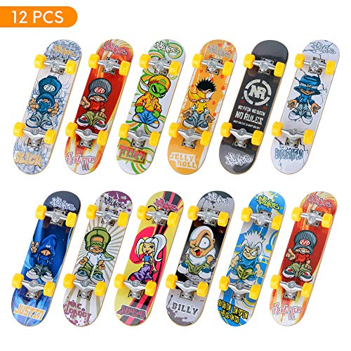 TIME4DEALS Mini Fingerboards Finger Skateboard Toy, 12 PCS Creative Fingertips Movement Party Favors Novelty Toys for Kids Party -