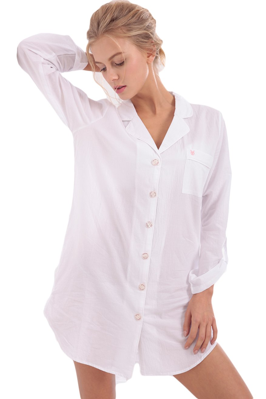 Awaye Sleepshirt For Women Button Front Boyfriend Style Top Shirt Long Sleeve Nightshirts Sexy Pajama Sleepwear