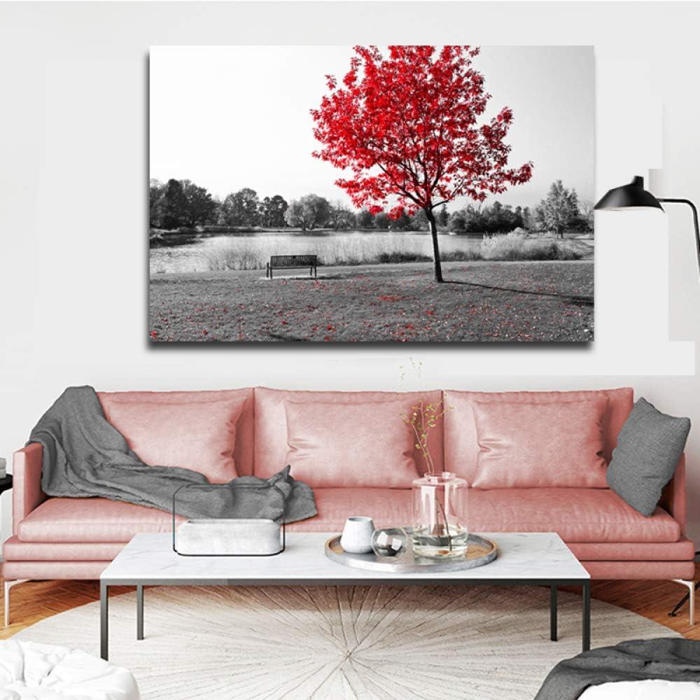 YHZSML Cuadros Modernos Cuadros de Paisaje en Blanco y Negro Cuadros de Pared de árbol Rojo para Sala de Estar Arte de la Lona Pintura Decorativa A 30x40CM