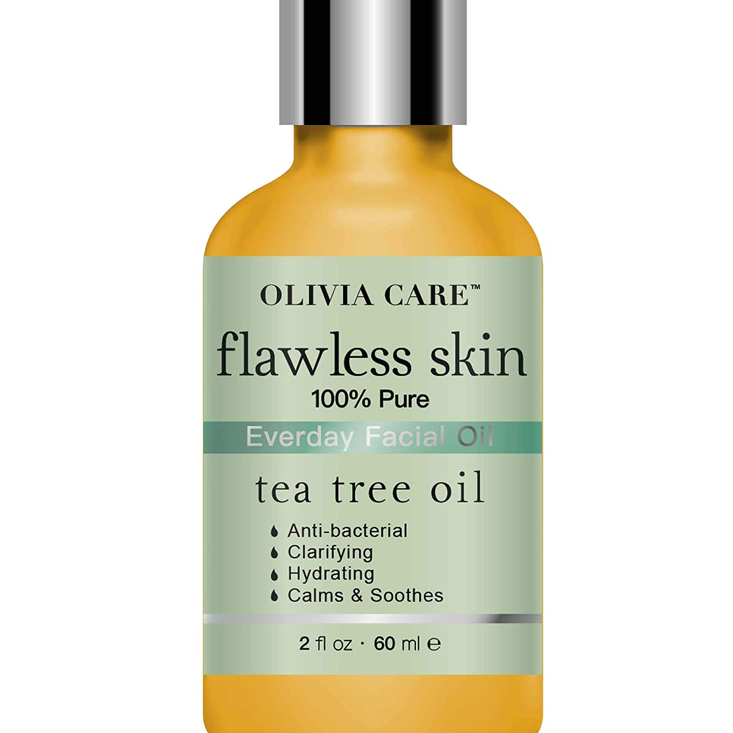 Tea Tree Pure Flawless Essential Facial Oil By Olivia Care – 100% Natural. Moisturizing, Hydrating, Calming & Soothing. Deep Cleans & Soothes Skin. Remove Dirt, Scars & Impurities - 2 OZ