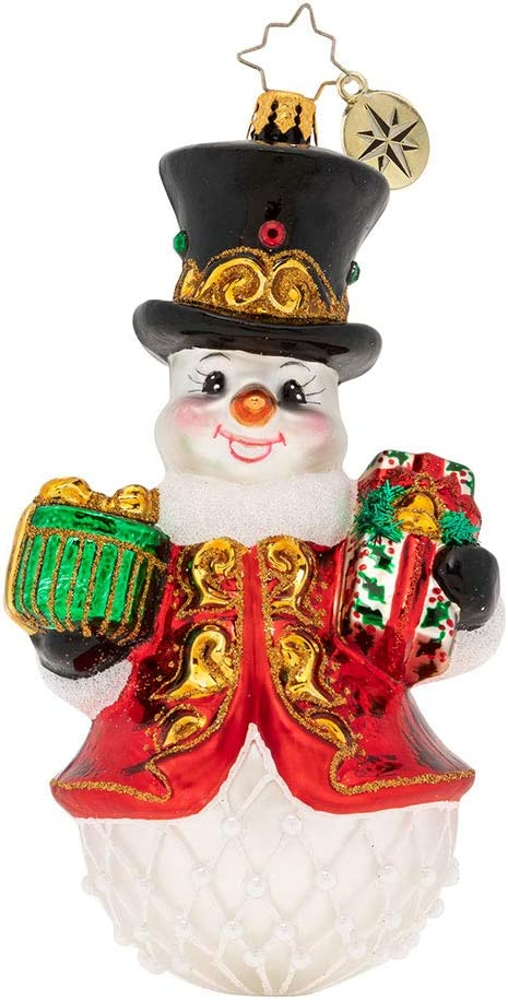 Christopher Radko Hand-Crafted European Glass Christmas Decorative Figural Ornament Royal Gift Giving Snowman!