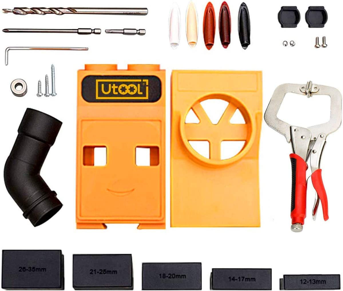 UTOOL Pocket Hole Jig Kit with Gui Genuine Free Shipping Drill Clamp Face Woodworking 5 popular