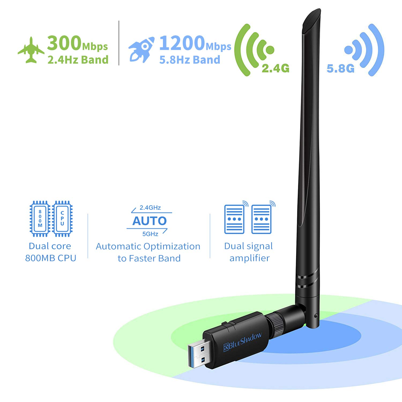 Blueshadow Antena de Adaptador USB WiFi 1200Mbps - Dongle de Tarjeta de Red inalámbrica Wi-Fi AC de Banda Dual 2.4G / 5G con Antena de Alta Ganancia ...