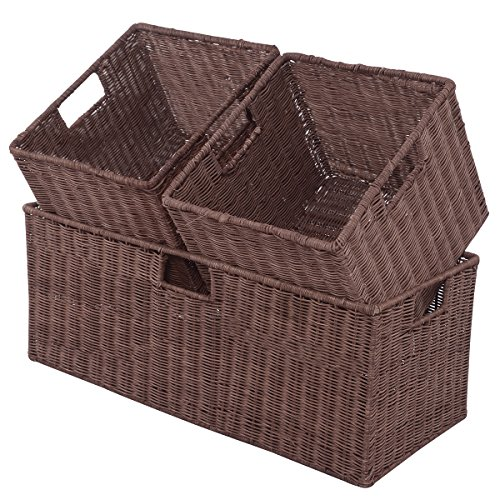 Giantex 3PCS Rattan Storage Baskets Nest Nesting Cube Bin Box Organizer Home Room Office(1 x Large+ 2 x Small Wicker Rattan Covered)