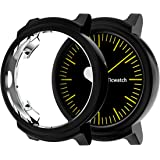 JZK Compatible Ticwatch E Accessories Case, TPU Plated Screen Protector Cover [Scratch-Proof] All-Around Protective Bumper Shell Compatible Ticwatch E Smartwatch Accessories (Black)