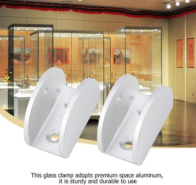 KSTE 4pcs espace en aluminium verre Pince Porte-fen/être Fixation clip Arc Support for M Epaisseur 6-10mm