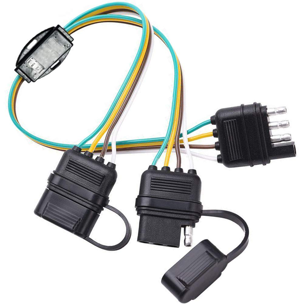 New Sun 4 Way Flat Splitter Pin Wiring Harness Rubber Cab Led Tailgate Light Bar