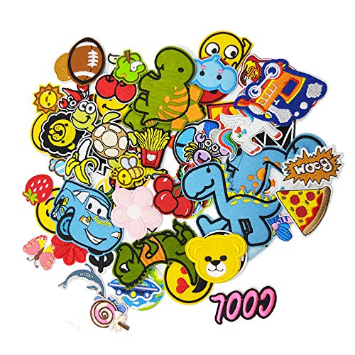60pcs Iron On Patches Cool Cute Sewing On Patches Appliques for Clothes Jackets Hats Backpacks Jeans; Kids Boys Girls; Rainbows Unicorns Dinosaurs Flowers Butterfly Animals Fruits and More