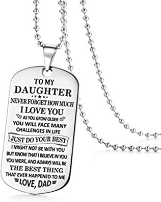 Father and Daughter Necklace Always Beloved Love Dad Best Gifts for Daughter