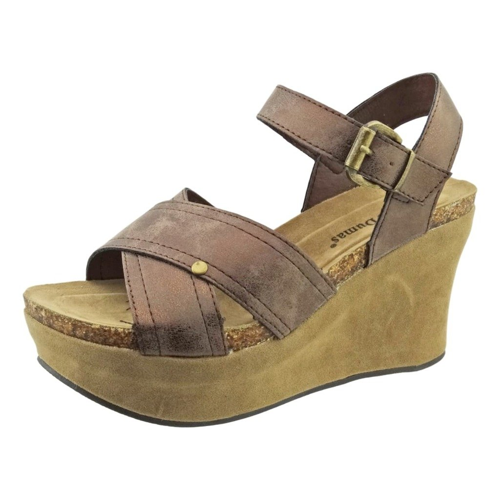 Pierre Dumas Hester-9 Women's Vegan Leather Strappy Ankle-Strap Wedge Sandals B072MR9S3Q 10 B(M) US|Bronze