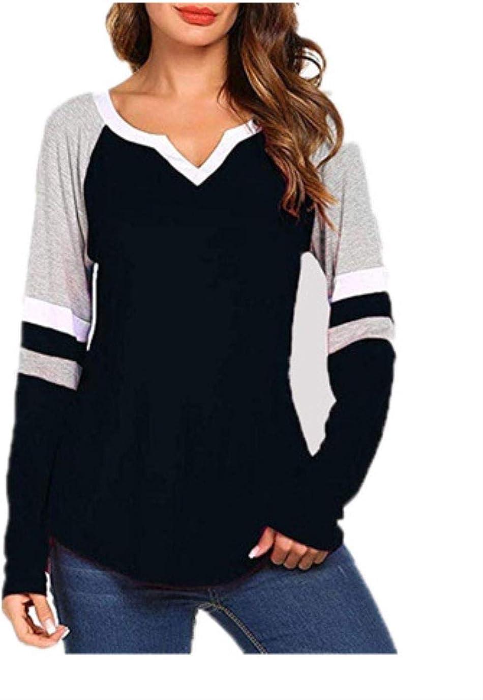 6 Colors Stripe Patchwork V Neck Long Sleeve T Shirt Casual Women Plus Size Tops