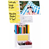 NoteTower Desktop Organizer White - Sticky Note Holder & Office Supplies Caddy - Displays Photos, Sticky Notes, Business Cards & Holds Pens & Pencils + BONUS 50 Sheets 3x3 Sticky Notes