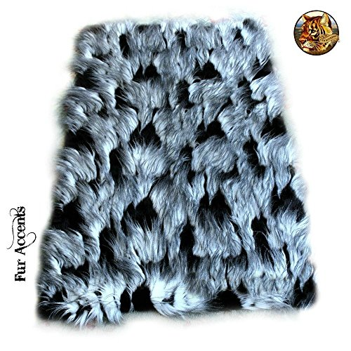 Premium Shaggy Black And White Faux Feather Fur Area Throw Rug Shaggy Shag Luxury Sheep Rectangle Faux Fur (4'x5') by Fur Accents