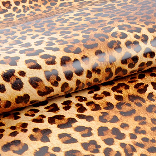 yazi Sexy Leopard Print Self-Adhesive Removable PVC Wall Sticker Shelf Drawer Liner,18-Inches by (Self Adhesive Print)