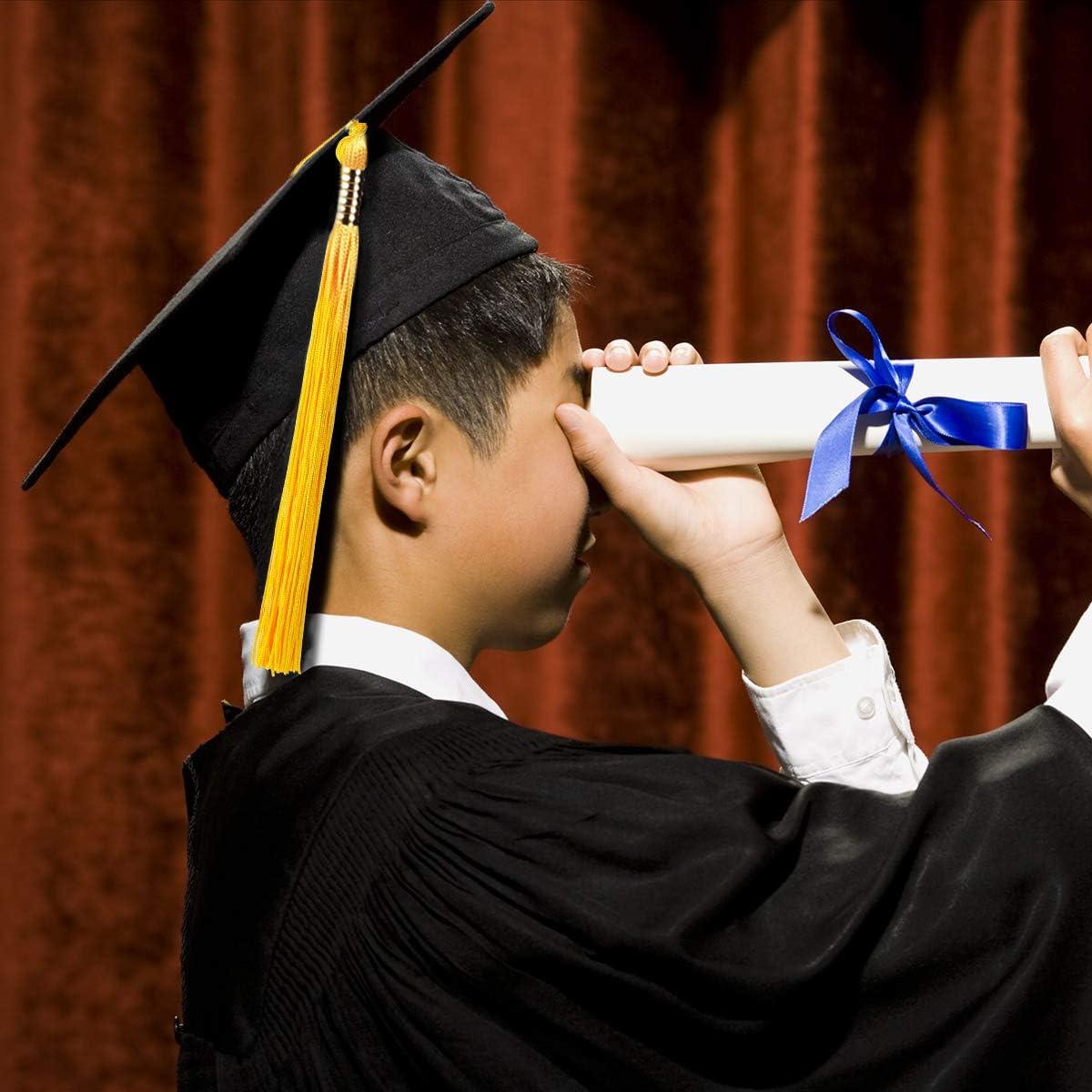 TENDYCOCO Chapeau Diplom/é Universitaire Toque /Étudiant Remise De Diplome R/églable avec Pompon Jaune