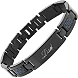 Willis Judd DAD Titanium Bracelet Engraved Love You Dad Carbon Fiber Adjusting Tool & Gift Box Included