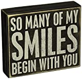 Primitives by Kathy 20992 Love- Smiles Box Sign, Neutral