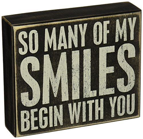Primitives by Kathy 20992 Love- Smiles Box Sign, Neutral by Primitives by Kathy (Image #1)'