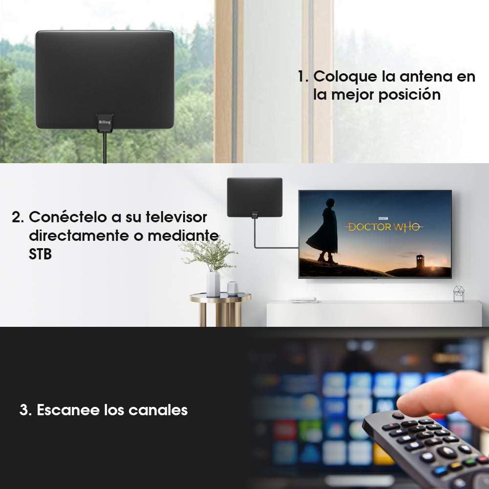 Biling Antena TV Interior- Antena TV portátil HD TV Digital 120 Millas con Amplificador de señal Inteligente para Canales de TV gratuitos Soporte 4K 1080 HD/VHF/UHF, Apto para Todos los Tipos de