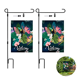 2 Pack Garden Flag Pole, Premium Garden Flag Pole Holder Metal Wrought Iron Powder-Coated Weather-Proof Paint, with Tiger Clip and Spring Stoppers, Welcome Garden Flags(2 Pack)