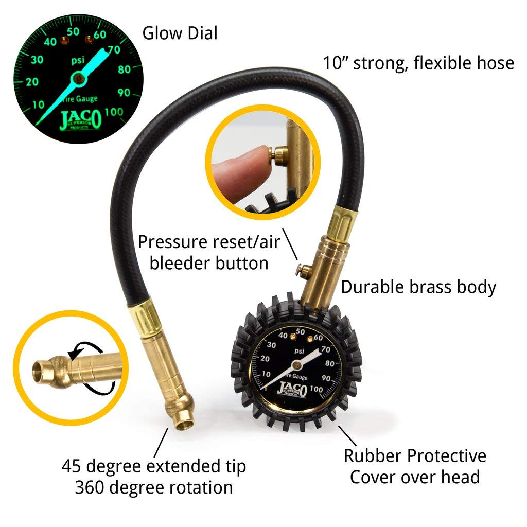 100 PSI JACO ElitePro Tire Pressure Gauge